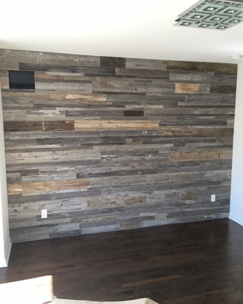 diy reclaimed wood accent wall grey shades mixed widths priced per square foot east coast rustic. Black Bedroom Furniture Sets. Home Design Ideas