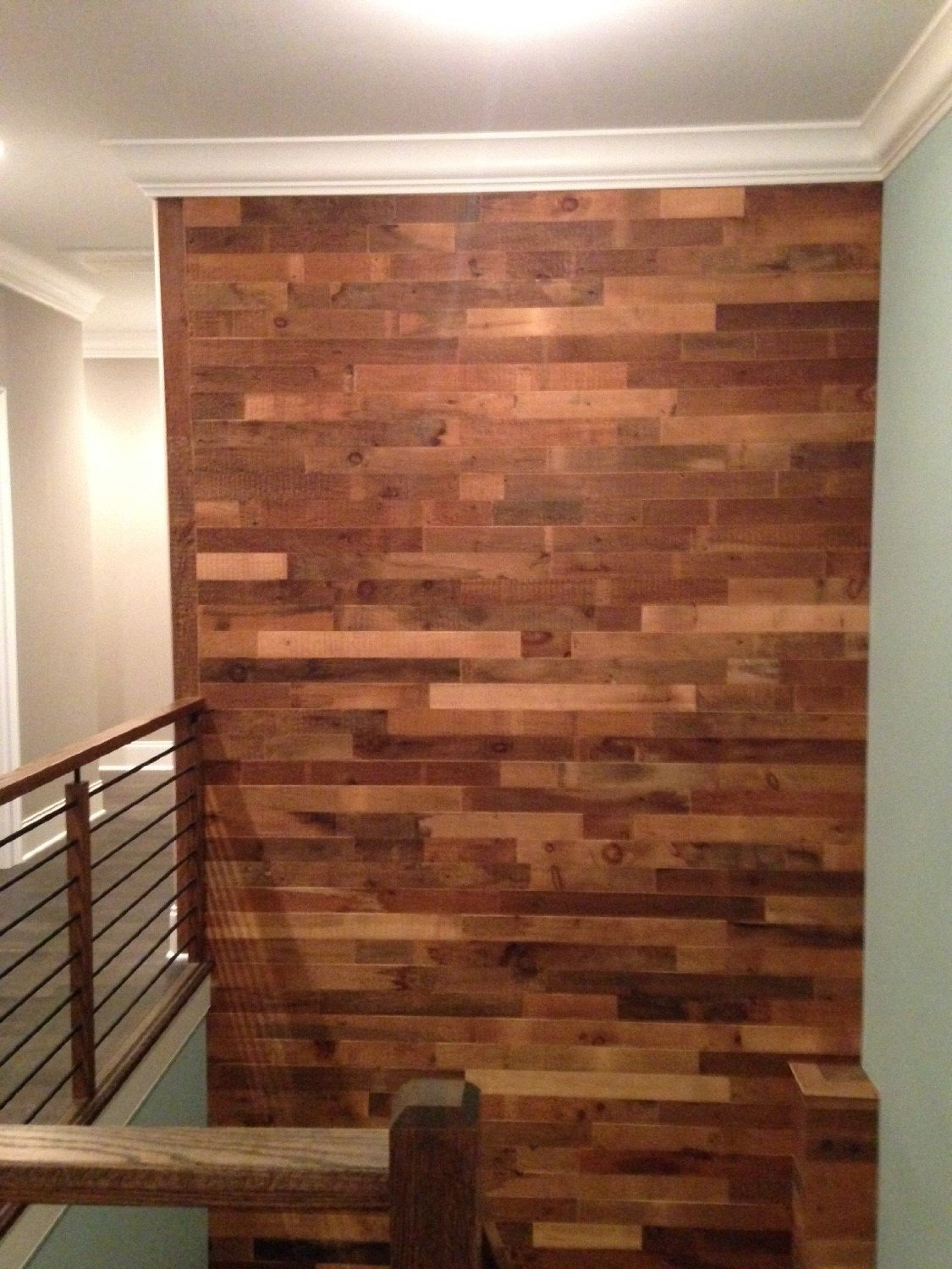 diy reclaimed wood accent wall brown waxed and sealed 5 5 inch wide priced per square foot. Black Bedroom Furniture Sets. Home Design Ideas