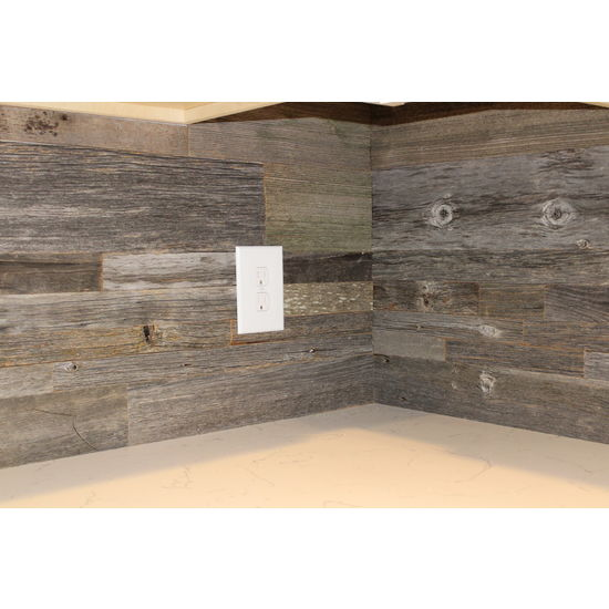 Grey Wood Accent Wall: DIY Reclaimed Wood Accent Wall Grey Shades Mixed Widths