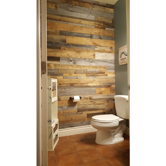 diy reclaimed wood accent wall grey and brown