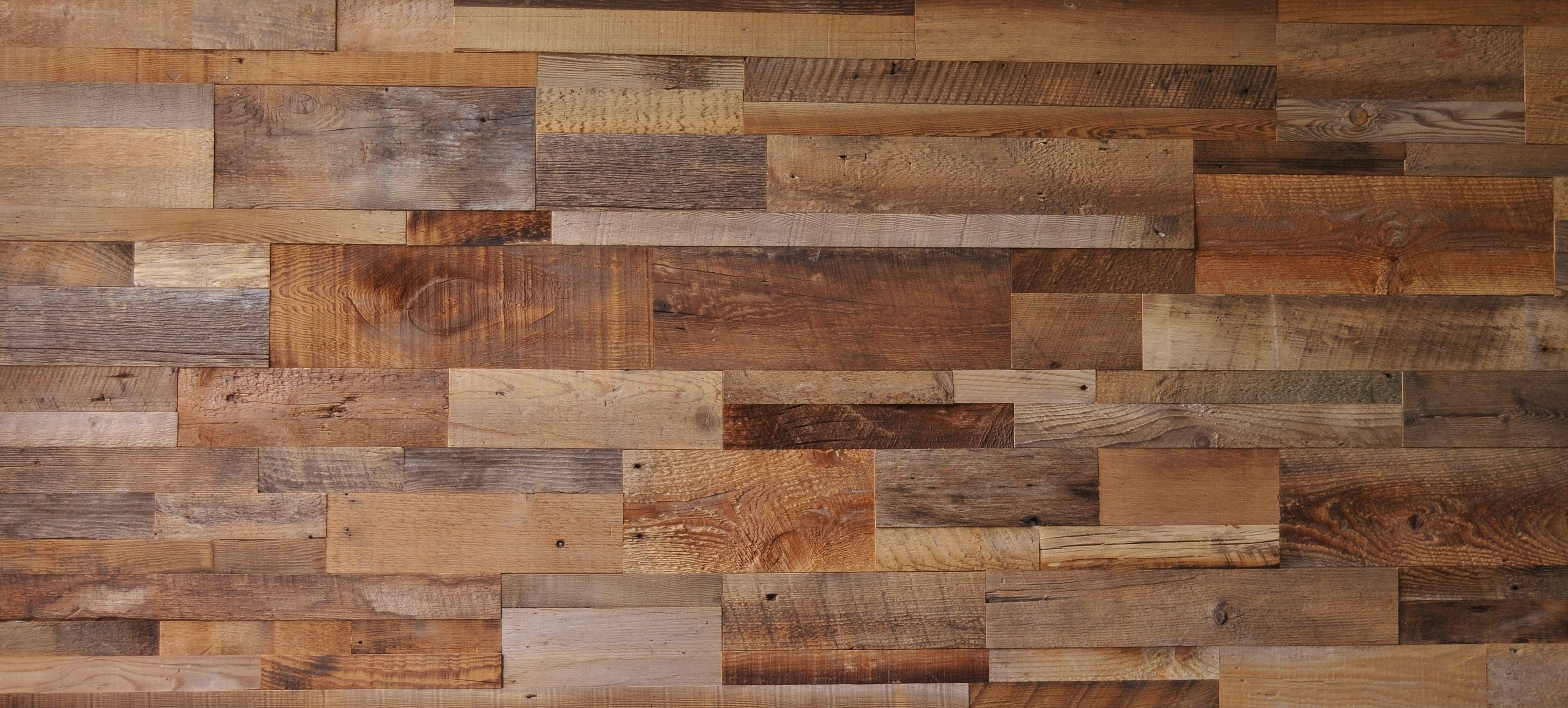 Diy reclaimed barn wood accent wall brown natural mixed for Wood wallpaper for walls