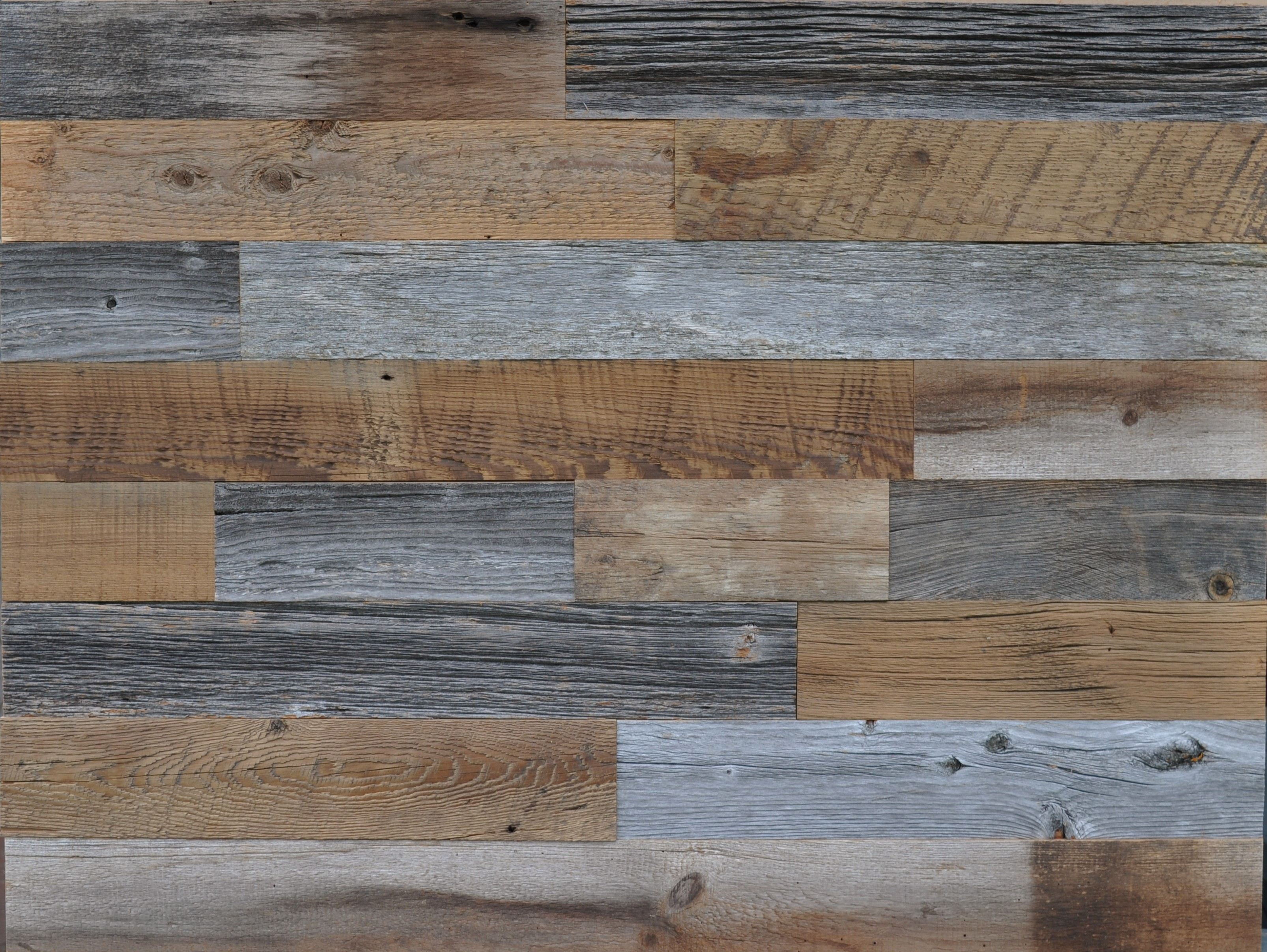 Diy reclaimed wood accent wall grey and brown natural 3 5 for Recycled hardwood